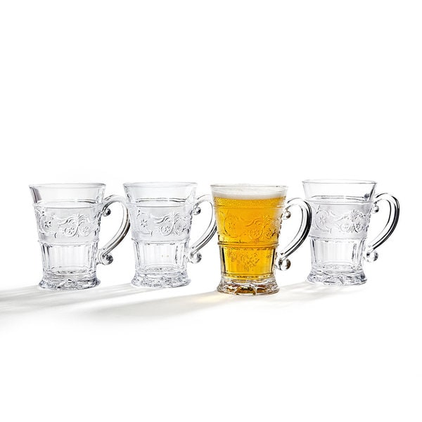 Godinger Renn Clear Glass 12-ounce Mugs (Set of 4)