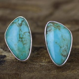 Handmade Sterling Silver 'Allure' Turquoise Earrings (Mexico)