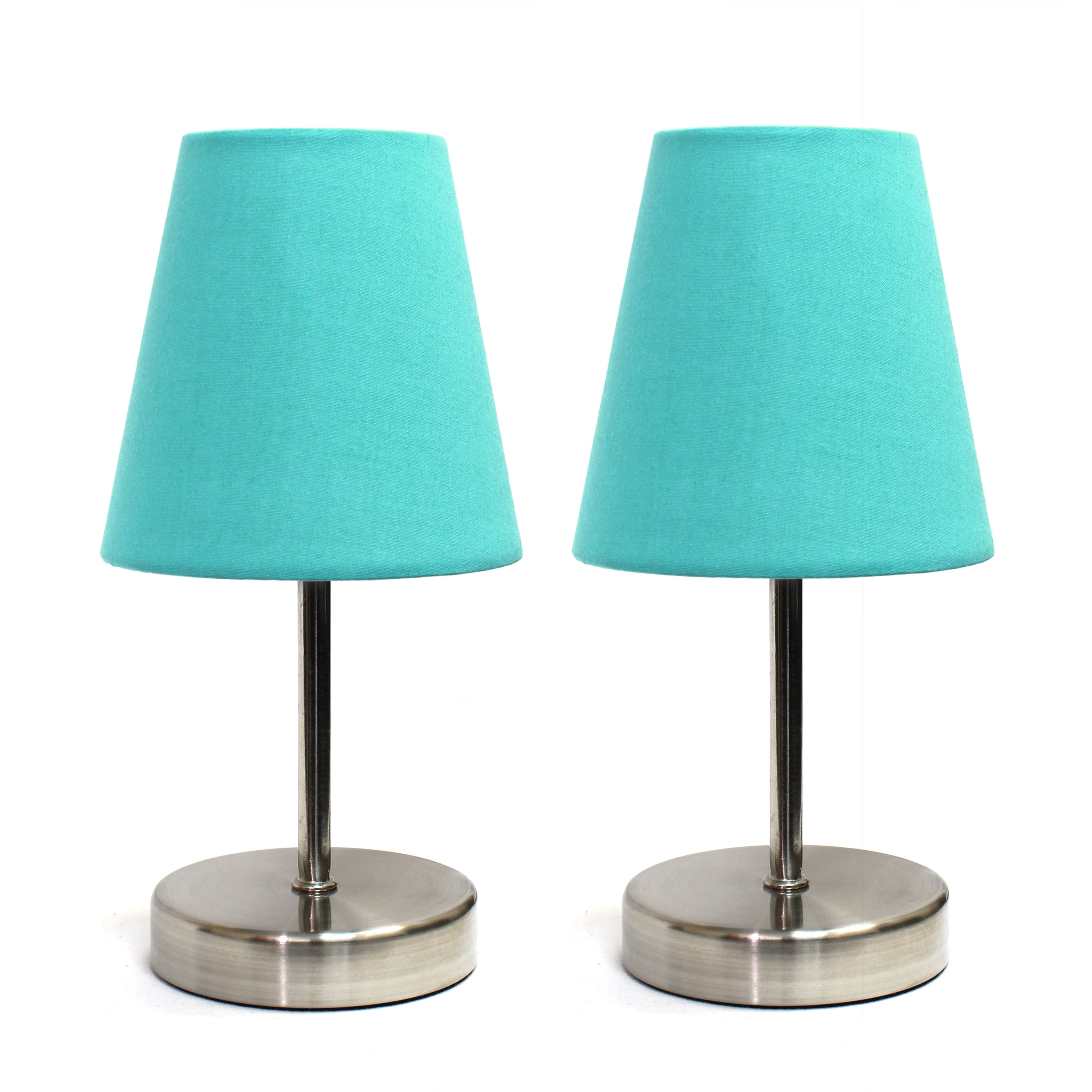 Clay Alder Home Hogback Sand Nickel Mini Basic Fabric Shade Table Lamps  (Set Of 2
