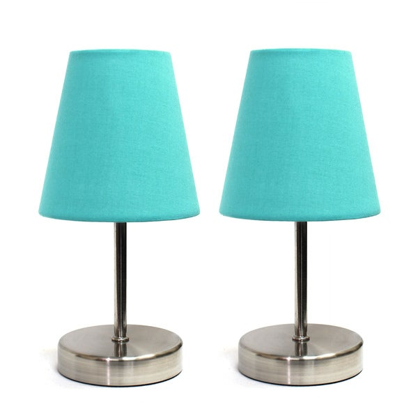 Clay Alder Home Hogback Sand Nickel Mini Basic Fabric Shade Table Lamps (Set of 2)