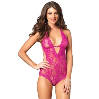 Leg Avenue Women's Pink Nylon Stretch Lace Deep-V Halter Teddy with Faux Rhinestone Buckle Accent