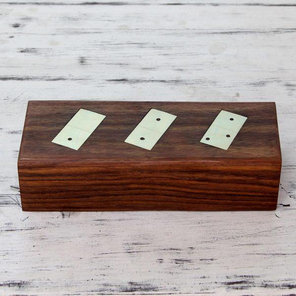 Handmade Sheesham Wood Brass Inlay 'Challenge' Dominoes Set (India)