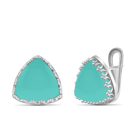 JewelonFire Sterling Silver Genuine Chalcedony Gemstone Earring