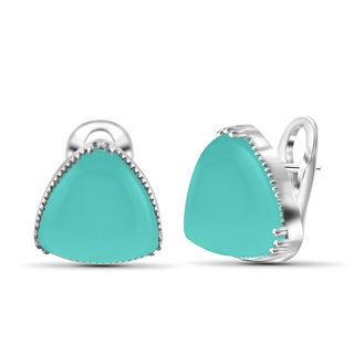 JewelonFire Sterling Silver Genuine Chalcedony Gemstone Earring