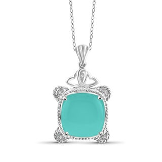 JewelonFire Sterling Silver Genuine Chalcedony Gemstone and White Diamond Accent Pendant