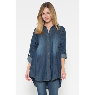 Women's Blue Denim Oversize Button-down Long-sleeve Top