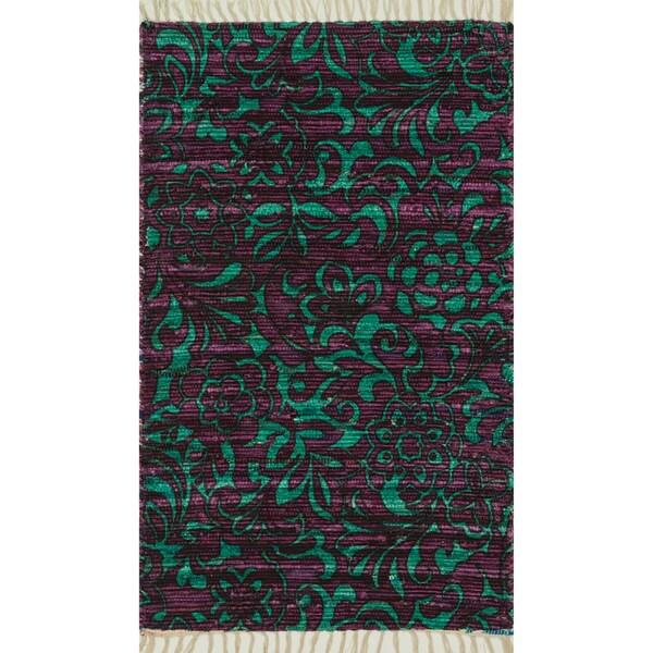 """Flatweave Maria Purple/ Turquoise Flora Rug - 1'8"""" x 3'"""