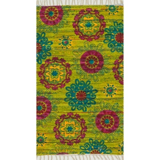 "Flatweave Maria Lime/ Pink Retro Floral Rug - 1'8"" x 3'"