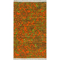 "Flatweave Maria Orange/ Lime Flora Rug - 1'8"" x 3'"