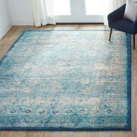 Traditional Light Blue/ Ivory Medallion Distressed Rug - 13' x 18'