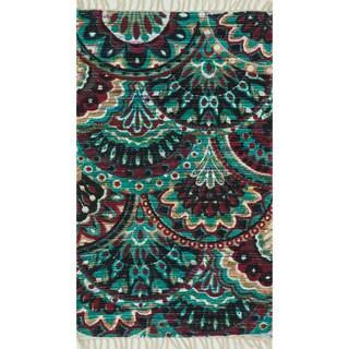 Flatweave Maria Aqua/ Multi Arabesque Rug (3'6 x 5'6)