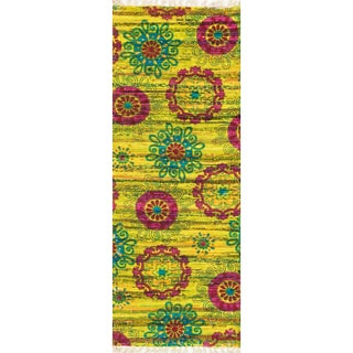 Flatweave Maria Lime/ Pink Retro Floral Runner Rug (1'9 x 5'0)