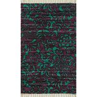 Flatweave Maria Purple/ Turquoise Flora Rug - 3'6 x 5'6'