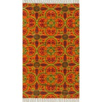 Flatweave Maria Orange/ Multi Moroccan Rug - 3'6 x 5'6'