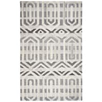 Rizzy Home Suffolk Grey Geometric/Ikat Hand-tufted 100% Wool Rug (3' x 5')