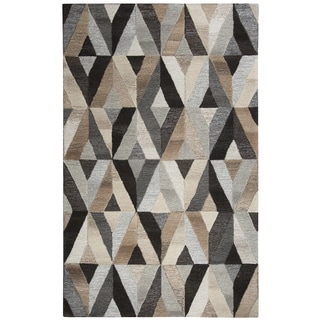 Hand-Tufted Suffolk Grey Geometric Wool Rug (3' x 5')