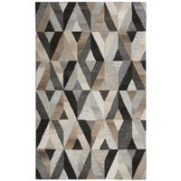 Hand-Tufted Suffolk Grey Geometric Wool Rug - 3' x 5'