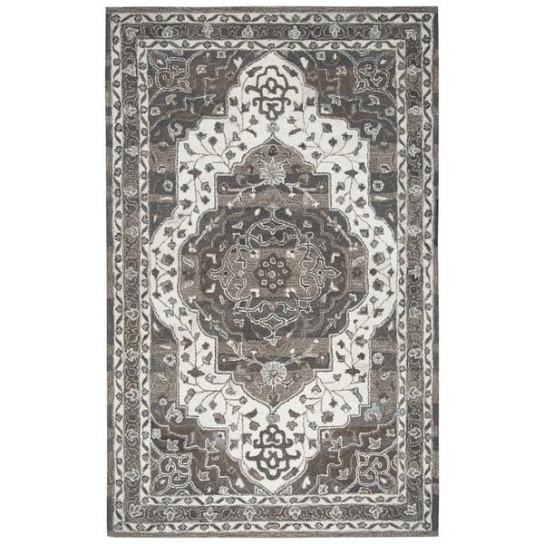 Shop Classical Kashan Medallion Hand Knotted Persian Wool: Shop Makalu Beige Oriental Medallion Hand-tufted 100% Wool