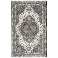 Rizzy Home Suffolk Beige Oriental Medallion Hand-tufted 100% Wool Rug (3' x 5')