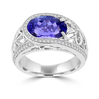 La Vita Vital 18k White Gold Oval 3.6ct Tanzanite and Diamond 0.32ct TDW Ring (SI1-VS, G-H)