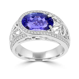 La Vita Vital 18k White Gold Oval 3.62ct Tanzanite and Diamond 0.32ct TDW Ring|https://ak1.ostkcdn.com/images/products/13956403/P20585539.jpg?impolicy=medium