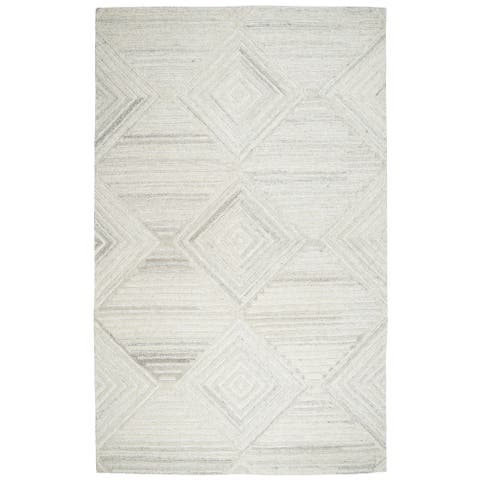 Makalu Ivory Wool Hand-tufted Geometric and Solid Rug (3' x 5') - 3' x 5'