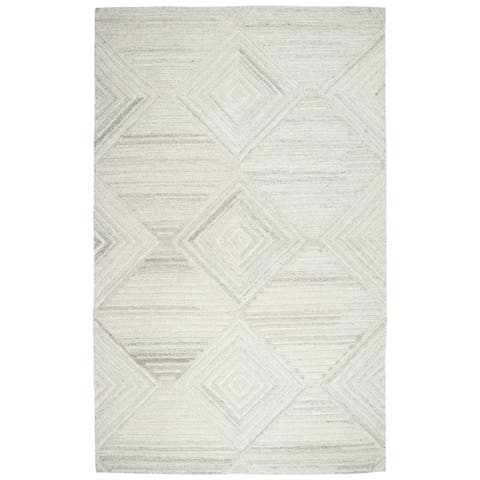 Makalu Ivory Wool Hand-tufted Geometric and Solid Rug (3' x 5') - 3' x 5'