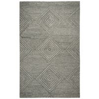 Hand-Tufted Suffolk Grey Geometric/Solid Wool Rug (3' x 5')