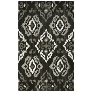 Rizzy Home Black Ikat Wool Medallion Rug (3' x 5')
