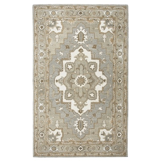 Rizzy Home Suffolk Gray Oriental Medallion Hand-Tufted Wool Rug (3' x 5')