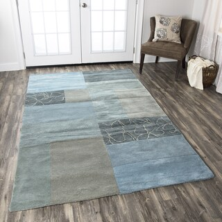 Hand-Tufted Pandora blue block Wool Rug (3' x 5')