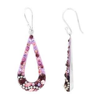 Women's Silverplated Brass Purple Crystal Drop Earrings