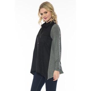 Women's Long Sleeve Color Block Top