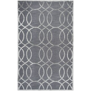 Rizzy Home Monroe Grey Wool Geometric Area Rug (3' x 5')