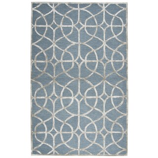 Rizzy Home Hand-tufted Monroe Ivory Wool and Viscose Trellis Rug (3' x 5')