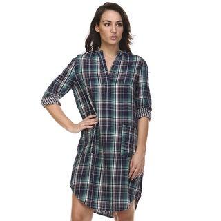 Women's Woori Blue Cotton Shirt Dress