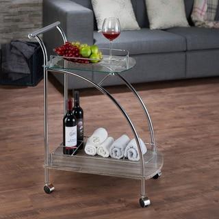 Acme Furniture Badin Chrome Finish and Glass Serving Cart