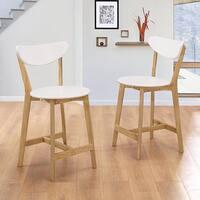Retro Modern Barstools, Set of 2 - White/Natural - 20 x 22 x 40h