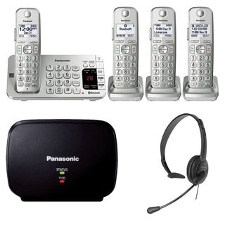 Panasonic KX-TGE474S Link2Cell Bluetooth CordlessPhone-4 Handsets, Range Extender, Silver
