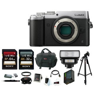 Panasonic Lumix DMC-GX8 Micro Four Thirds Digital Camera (Body Only, Silver) with LED Flash & Focus Accessory Bundle