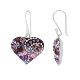 Silver Plated Brass Multicolored Crystal Heart Fish Hook Earrings