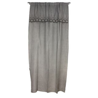 Sagebrook Home Grey Linen Embroidered Curtain Window Panel