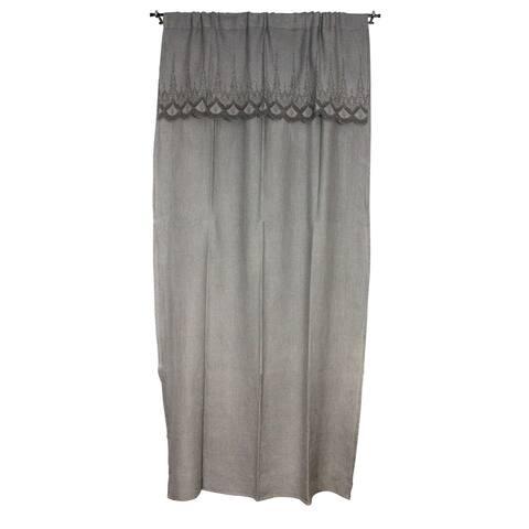 Sagebrook Home Grey Linen Embroidered Curtain Window Panel