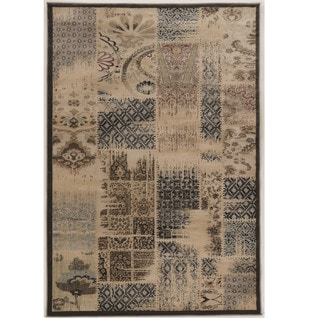"Power Loomed Jewel Collection Vintage Patch Work Beige Polypropylene Rug (1'10"" X 2'10"")"