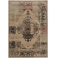 Power Loomed Jewel Collection Vintage Medallion Beige Polypropylene Rug