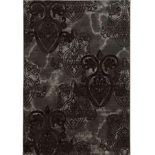"Power Loomed Jewel Collection Medallion Black Polypropylene Rug (1'10"" X 2'10"")"