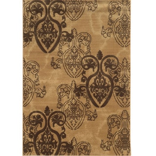 "Power Loomed Jewel Medallion Collection Beige Polypropylene Rug (1'10"" X 2'10"")"