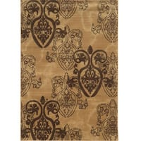 "Power Loomed Jewel Medallion Collection Beige Polypropylene Rug - 1'10"" X 2'10"""