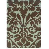 Hand Tufted Trio Collection Damask Chocolate & Spa Blue Polyester Rug (1.10 x 2.10)