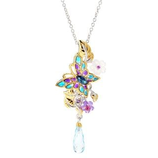 "Michael Valitutti Palladium Silver Swiss Blue Topaz & Multi Gemstone Butterfly Pendant w/ 18"" Cable Chain with 2"" Ext"
